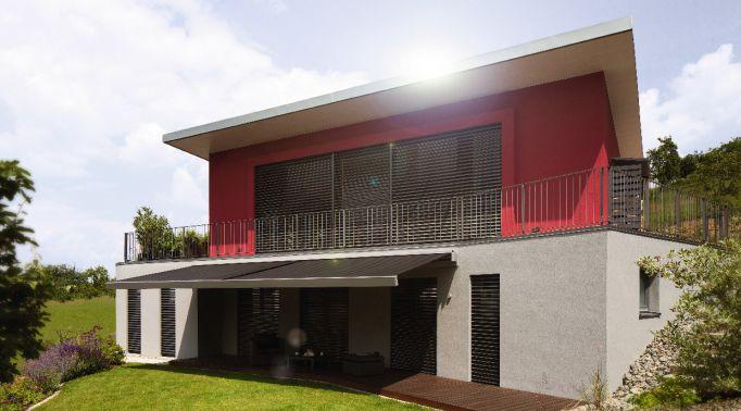Raffstores-Aussenjalousien-an-Architektenvilla Raffstores